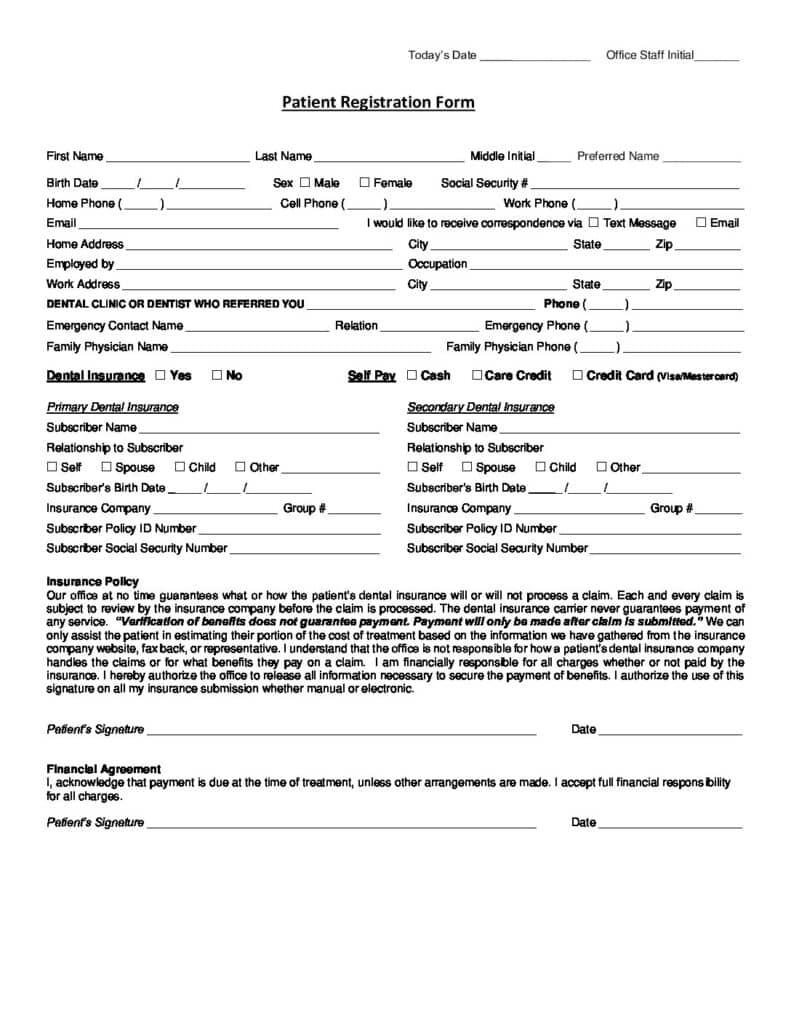 English Registration Form